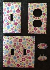 PURPLE FLOWERS - OUTLET COVERS AND SWITCH PLATES - FREE SHIPPING- BATHROOM