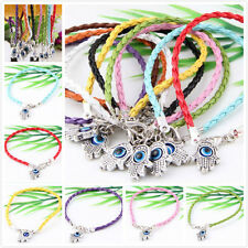 Wholesale 10Pcs 10Color 1Mixed Twist Leather Cord Rope Bracelets Bangle Fashion