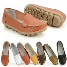Women Mother Leather Shoes Slip-on Ballet Flat Comfort Moccasin Anti-skid Loafer