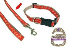 Rosewood WAG'n'WALK Designer Red With Beige Bone Dog Lead- SMALL MEDIUM Or LARGE