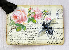 Hang Tags  FRENCH PINK ROSE BEE POSTCARD TAGS or MAGNET #639  Gift Tags