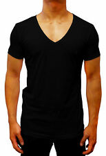 mens fashion PLAIN DEEP V-NECK SLIM FIT T-SHIRT colours S - XXL cotton designer