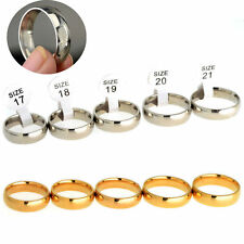Men's Womens Wedding Silver Gold Simple Love Stainless Steel Band Finger Rings