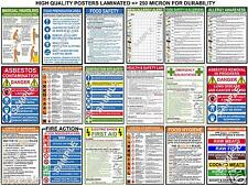 HEALTH SAFETY LAW A3 POSTERS ELECTRIC SHOCK - FIRST AID - COSHH - CHIPS - FIRE