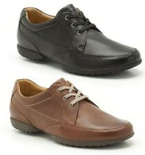 MENS CLARKS BLACK, TAN LEATHER WIDE FIT SMART CASUAL LACE UP SHOES RECLINE OUT