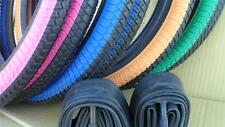"New PAIR of BMX Bicycle Tires & Tubes 20X1.95 20"" Bike *Choose your Color 2 Tone"