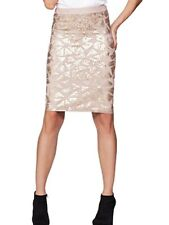 Gold sequin pencil skirt DEFINITIONS elastic waist Evening Party BNWT