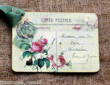 Hang Tags  FRENCH PINK ROSE POSTCARD TAGS or MAGNET #369  Gift Tags