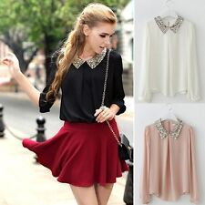 Autumn Women Chiffon Sheer Sequin Collar Long Sleeve Loose Blouse Tops T-Shirt