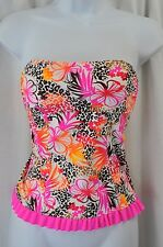S.O. AB208T521 Junior Strapless Hot Pink Brown Floral Tankini Swimsuit MSRP $32