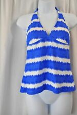 Chaps 3KR7282M Blue & White Striped Halter Tankini Swimsuit Top MSRP $44