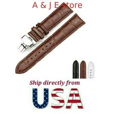 NEW Butterfly Buckle Genuine Leather Deployant Watch Band Black/Brown/White USA