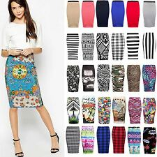 NEW WOMENS LADIES PLAIN STRIPE PRINTED PENCIL BODYCON HIGH WAIST TUBE SKIRT 8-14