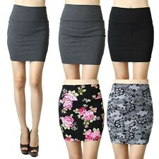 IUILE High Waist Mini Skirt Cotton Stretch Plain Solid Floral Pencil Short Sexy