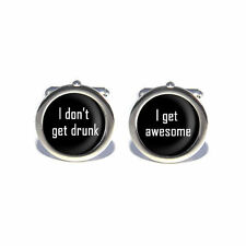 Stag Do Novelty I Don't Get Drunk, I Get Awesome Cufflinks with Personalised Eng