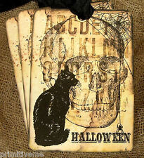 Hang Tags  HALLOWEEN BLACK CAT SKULL TAGS or MAGNET #59  Gift Tags