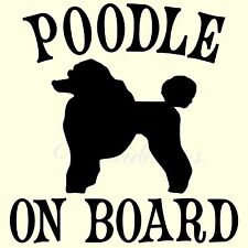 Vinyl decal / sticker POODLE ON BOARD dog sticker for car