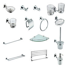 Modern Silver Brass Chrome Bathroom Accessories Furniture Fittings Wall Mount