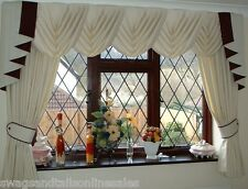 "WAVE EFFECT SWAGS & TAILS+CURTAINS SETS FITS WINDOWS 61"" to 105""(155-267cm)"