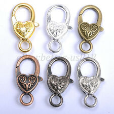 Gold Silver Plated Bronze, Copper, & Floral & Charms Heart Lobster Clasps 25MM