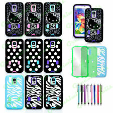 FOR SAMSUNG GALAXY S5 HEAVY DUTY CASE RUGGED HYBRID COVER BUILT IN SCREEN GUARD