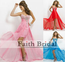 New High low Ball Gown Prom Bridesmaid Formal Dress Size 6 8 10 12 14 16