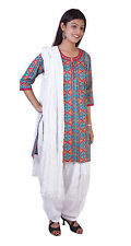 Patiala Salwar Wth Kameez Kurti Printed Indian Ethnic Combo Women Cotton Casual