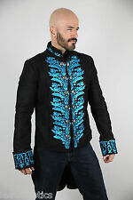 Blue TAILCOAT BLACK COTTON MENS embroidered OUTFIT VINTAGE WEDDING DRESS ST7