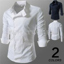 Fashion Classic Solid Color Mens Oblique Buckles Work Dress Casual Shirt9725 GBW