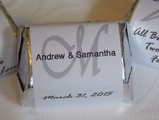 60 Personalized Monogram Wedding Shower Hershey Nugget Labels - Party Favors