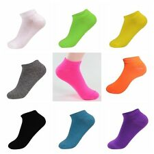 New Women Ladies Girls Low Cut Cotton Ankle Socks Solid Candy Color Casual