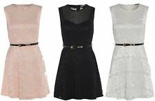 NEW WOMENS BELTED LADIES LACE PARTY SKATER DRESS WHITE BLACK PEACH SIZE 8 - 14