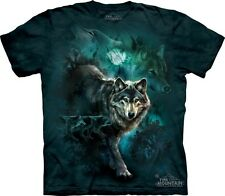 Night Wolves Collage T-Shirt by The Mountain.Wolf Moon Tee Sizes S-5XL New