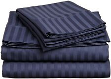 800 Count Navy Blue Stripe 4PCs Sheet Set 100% Cotton Fit 7 Sizes & Extra Pocket