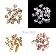 200Pcs Fold Over End Cord Findings Crimp End Beads For Jewelry 6x3mm