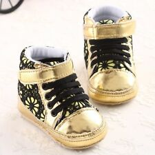 S891 Fashion Lace Flowers Baby Kid's Gold Shoe soft sole Velcro baby shoes US
