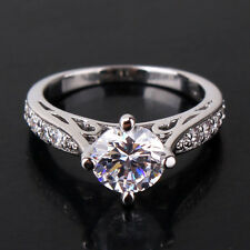 Shining design 18k white gold filled  White Swarovski crystal lady ring Sz5-Sz9