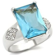 Z9X012PB EMERALD CUT AQUAMARINE  SIMULATED DIAMOND RING WOMENS