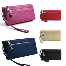 Womens Wallet Wristlet Strap Card Coin Holder Long Clutch Zipper Leather Purse