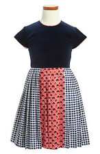 NWT Oscar De La Renta Baby Girl Pleated Navy Blue & Red Dress (2T, 3T) Velvet