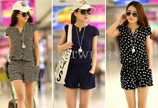 Fashion WomensShort Sleeves Waist Drawstring Slim Jumpsuits 3 Colors S~XXXL GBW