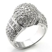 M7X166PB PAVE SET & BAGUETTE SPARKLING  STERLING  SILVER SIMULATED DIAMOND RING