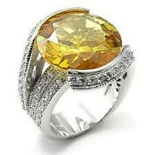 m7X288PB CITRINE & PAVE IMPRESSIVE  STERLING  SILVER SIMULATED DIAMOND RING