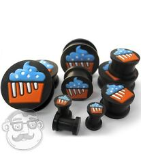 Pair of Black Silicone 3D Cupcake Ear Plugs / Gauges (2G - 1 Inch) Double Flare