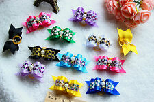 Pet Hair Bows 50pcs Hot Pearls Glitter Dog Bows Pet Grooming Products Accessory