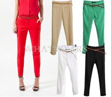 Fashion OL Womens Slim Fit Straight Casual Trousers Pants 7 Colors S~XL LJN