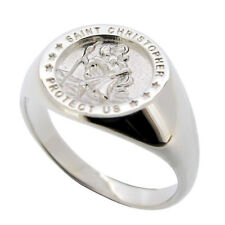 925 STERLING SILVER ST CHRISTOPHER SIGNET RING ENGRAVING OPTIONS FATHERS DAY