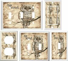 OWL ON TREE BRANCH BE KIND INSPIRATIONAL HOME DECOR SWITCH OR OUTLET COVER V600