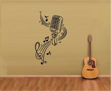 MUSIC NOTES SHEET MUSIC MICROPHONE VINYL WALL DECAL STICKER HOME ART DECOR