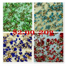 MIXED Sizes Point back Rhinestone Crystal Glass Chatons Strass Gemstones 20g